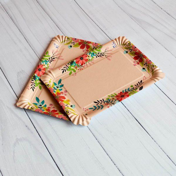 Бумажная тарелка 15×22 см стандартный рисунок ламинированная