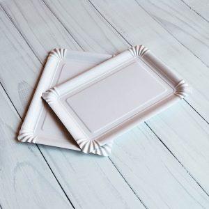 Бумажная тарелка 15×22 см белая ламинированная