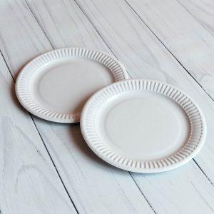 Бумажная тарелка 18 см белая ламинированная