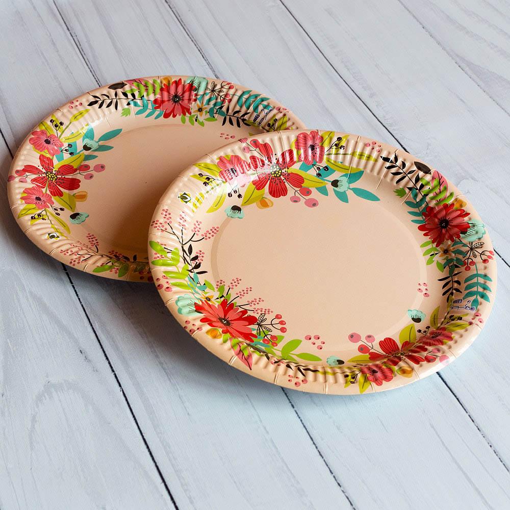 Бумажная тарелка 23 см стандартный рисунок ламинированная