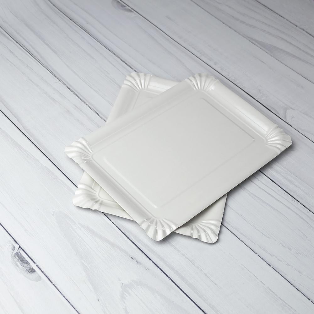Бумажная тарелка 15×22 см белая ламинированная. 1000 шт/ящ
