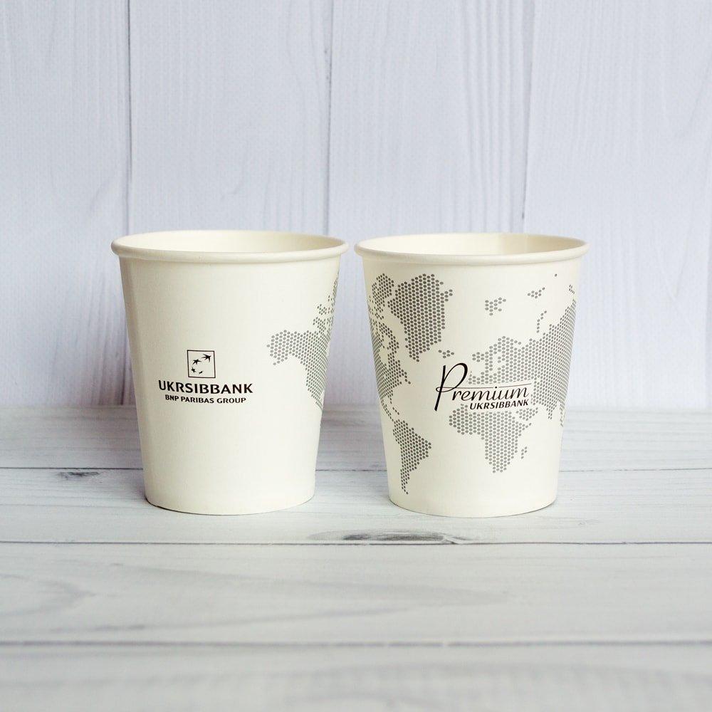 Бумажный стаканчик 185 с логотипом заказчика
