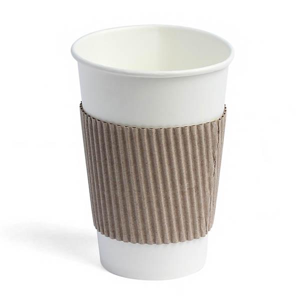 Термочехол для бумажных стаканов бурый гофрированный 0.5