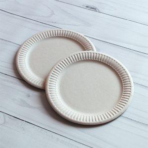 Бумажная тарелка 18 см белая ламинированая (акция)