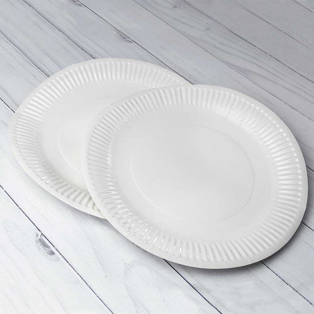 Бумажная тарелка 30 см Белая Ламинированная