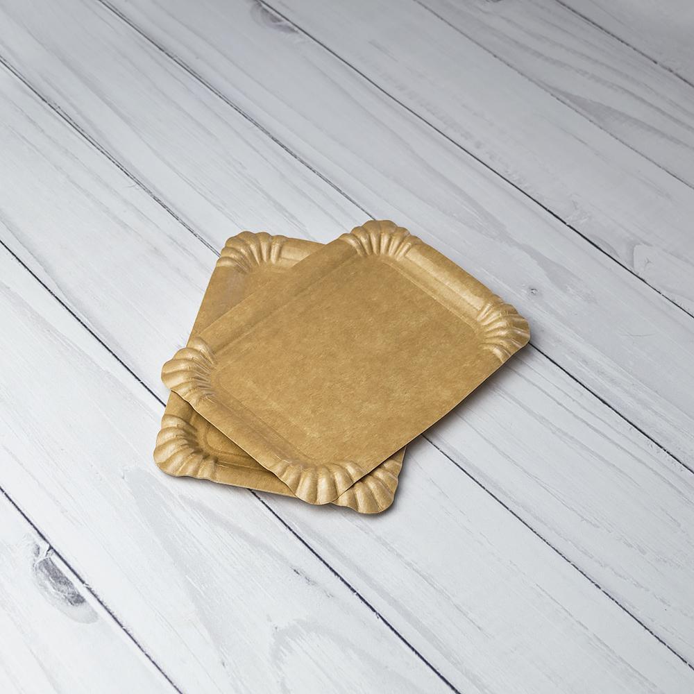 Бумажная тарелка 12*17 см крафт Ламинированная