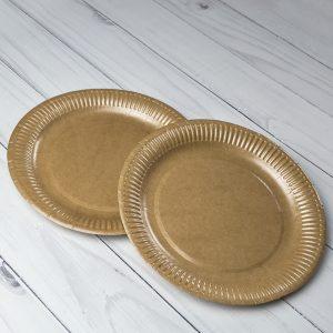 Бумажная тарелка 23 см Крафт Ламинированная