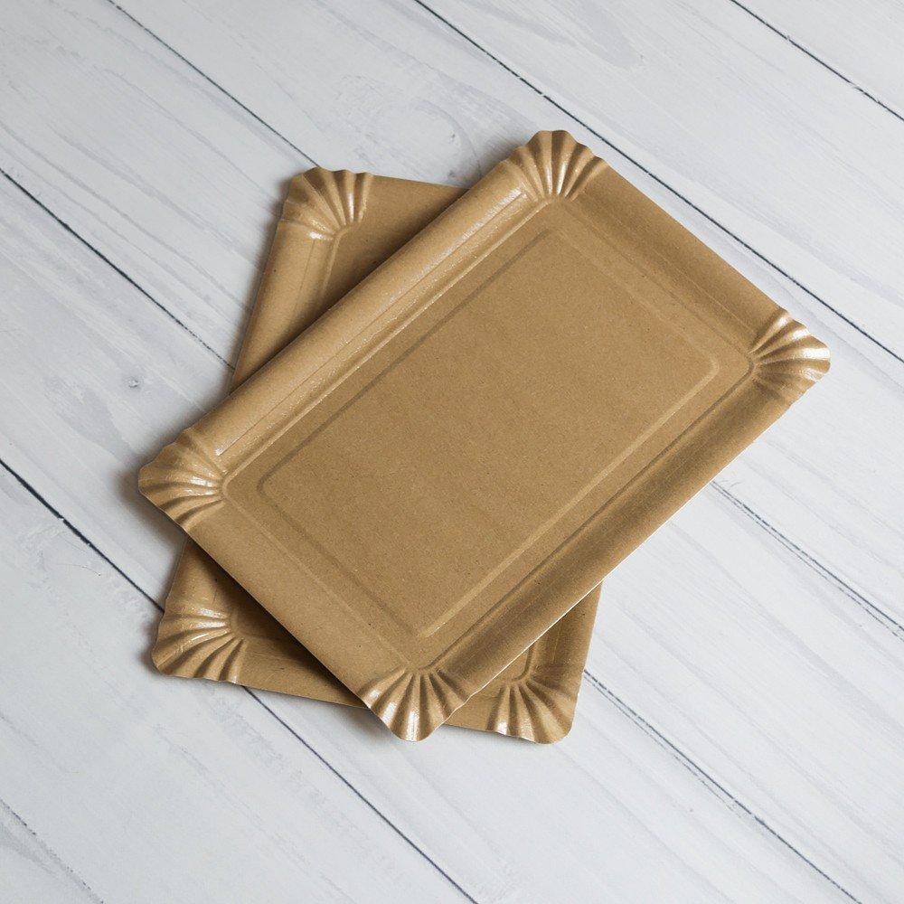 Бумажная тарелка 15*22 см Крафт Ламинированная
