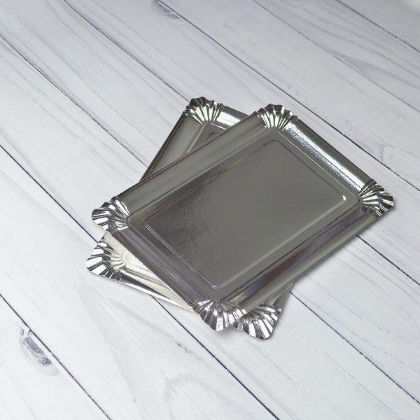 """Бумажная тарелка 15×22 см ламинированная """"Серебро"""""""