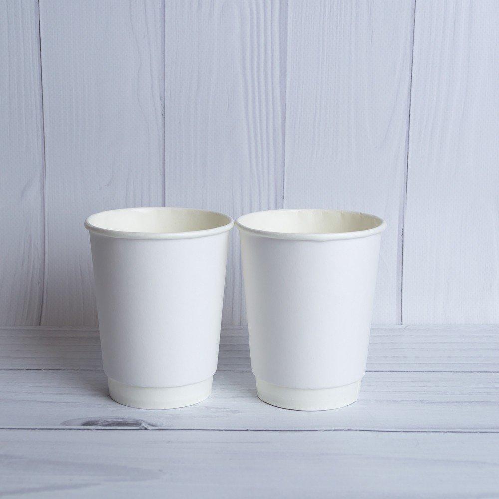 Бумажный двухслойный стакан 250 мл. Белый