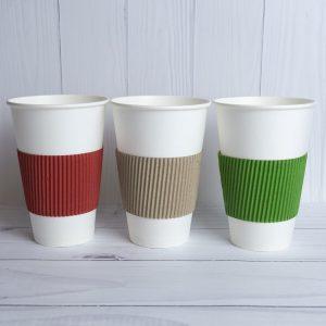 Термочехол для бумажных стаканчиков цветной гофрированный 0.5