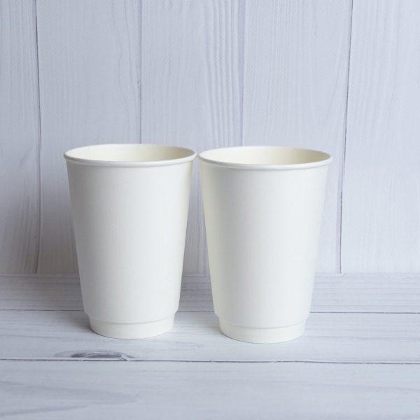 Бумажный двухслойный стакан 340 мл. Белый