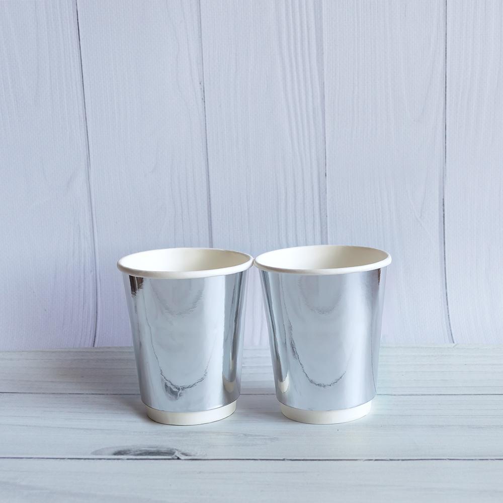 Бумажный двухслойный стакан 185 мл. Серебро. 600 шт/ящ