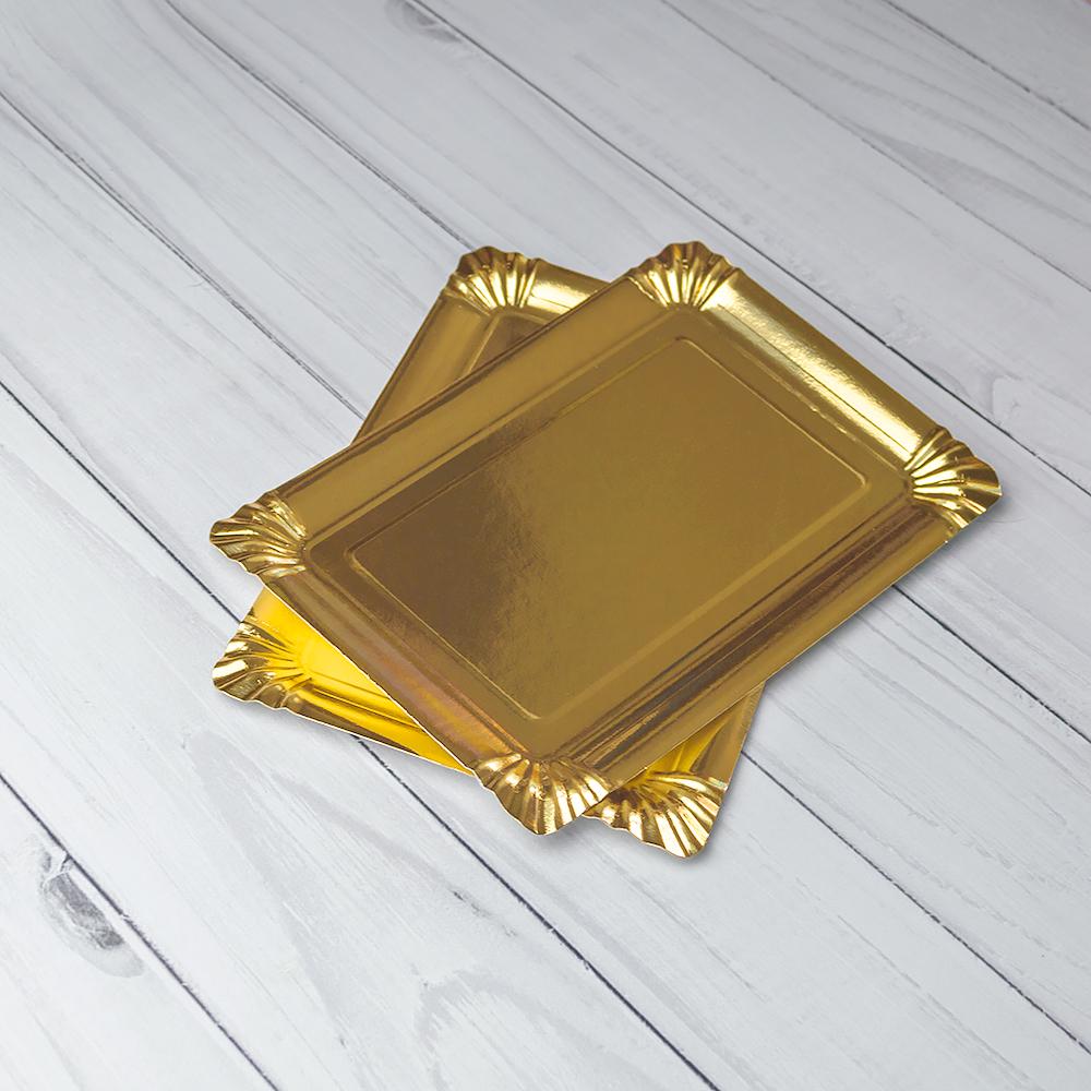 Бумажная Тарелка 15×22 См Золото Ламинированная