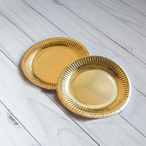 Бумажная Тарелка 18 См Золото Ламинированная