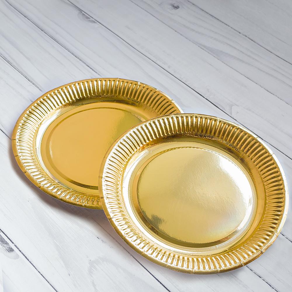 Бумажная тарелка 23 см золотая, ламинированная. 800 шт/ящ